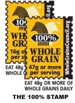 When deciding what grain product is the healthiest, look for the whole grain 100 percent stamp.