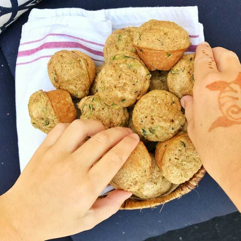 Are you looking for healthy snack ideas? These Mini Zucchini Muffins are the perfect after school snack or lunch box idea. Made with whole wheat flour, applesauce rather than oil, and a veggie serving, they are a healthy snack for kids any time of the day.