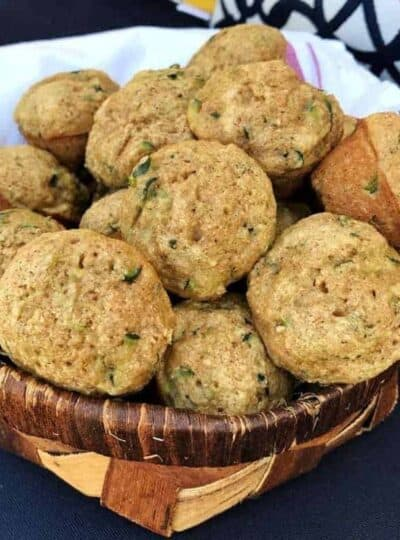 A basket full of zucchini Muffins