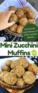 Are you looking for healthy snacks for kids? These Mini Zucchini Muffins are the perfect after school snack or lunch box idea. Made with whole wheat flour, applesauce rather than oil, and a veggie serving, they are a healthy snack for kids any time of the day.