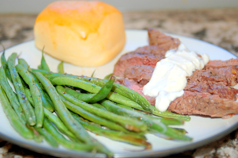 Broiled Steak Recipe With Hericot Verts and Feta Cheese Sauce
