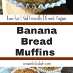 Skinny Banana Bread Muffins use overripe bananas, greek yogurt, flax seeds in a wonderful recipe the whole family will love. Learn the trick to getting muffin peaks every time!