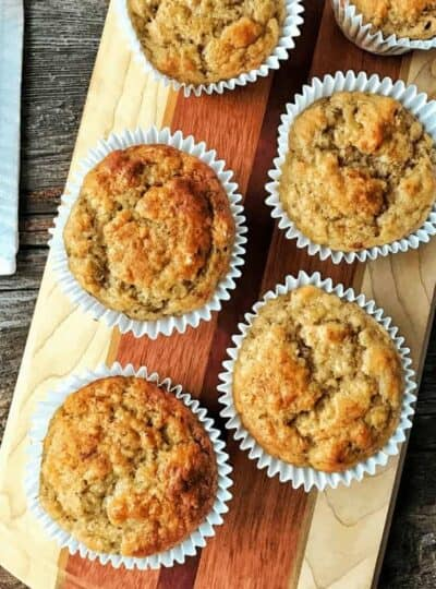 banana muffins on a tray