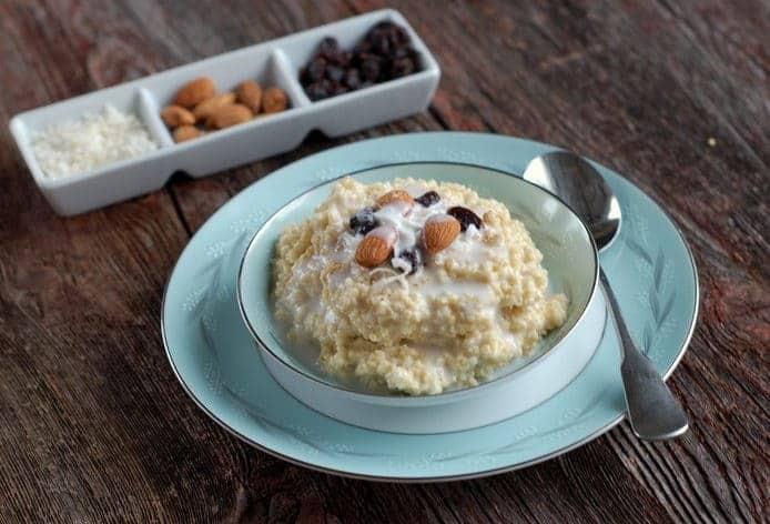 gluten free coconut millet breakfast porridge via createkidsclub.com