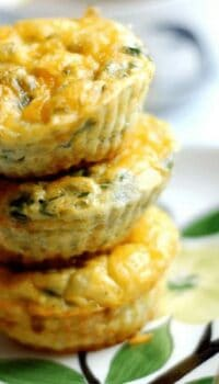 three egg muffins stacked