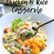 Turkey Casserole with rice and leftover turkey or chicken