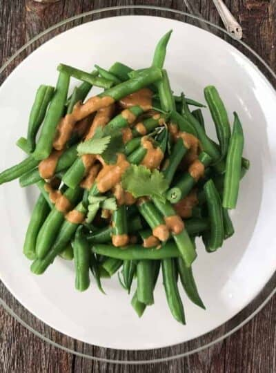 green beans with peanut butter satay