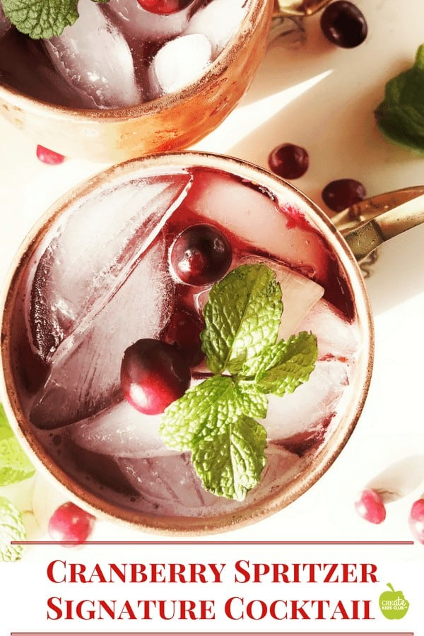 Cranberry Spritzer non alcoholic. A drink recipe that is the perfect signature cocktail for any party, holiday, shower, or graduation. Can be made with alcohol or as a non-alcoholic drink recipe. A cranberry drink recipe that is low calorie.