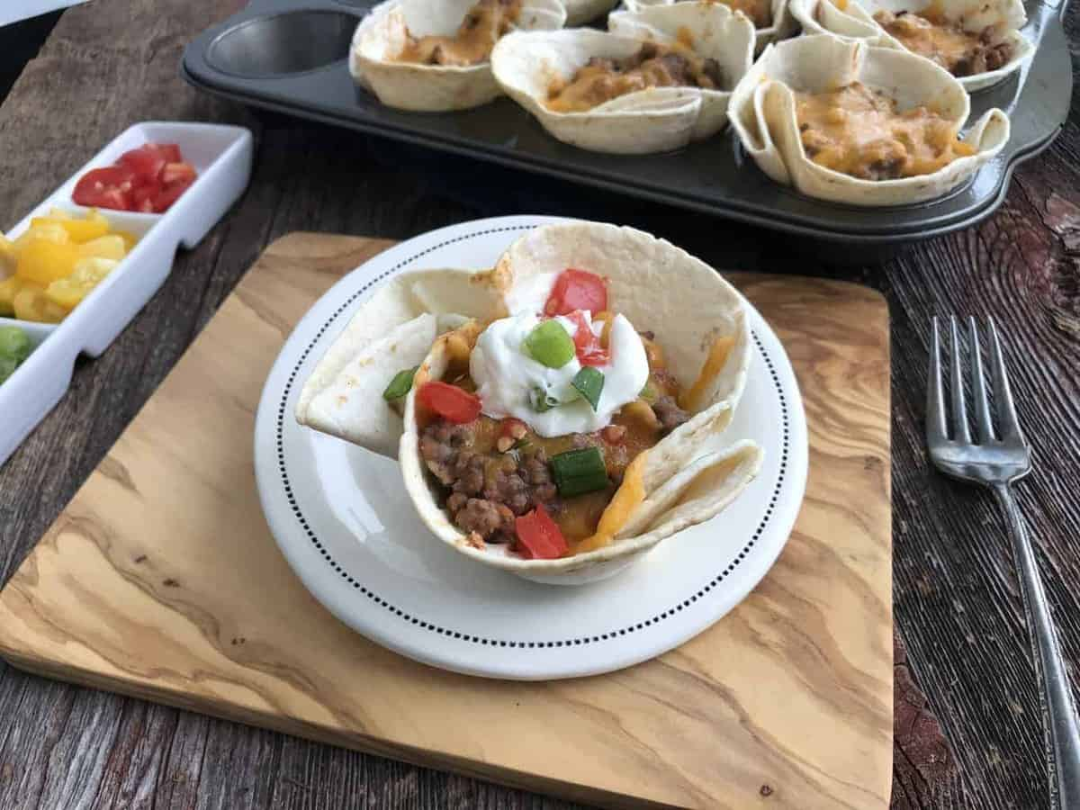 crunchy taco cups with tortillas