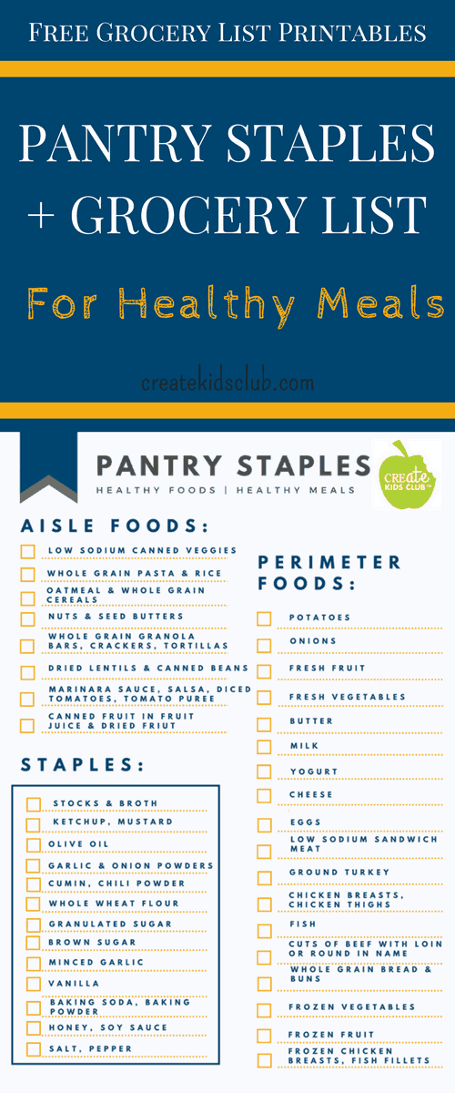 Dietitian developed FREE printable pantry staples & grocery list. Includes ingredients to make most meals on Create Kids Club website.