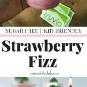 #ad This Sugar Free Drink Recipe using Truvia, is a Starbucks copycat recipe . Blending coconut milk, fresh strawberries, truvia, and club soda, this Strawberry Fizz Recipe is the perfect summer drink recipe the whole family will love. Diabetic friendly and low calorie, but doesn't give up flavor. Get a full serving of fruit in this refreshing beverage. An easy way to get more fruit into picky kids. Save money by making this yummy Starbucks pink drink copycat recipe at home.