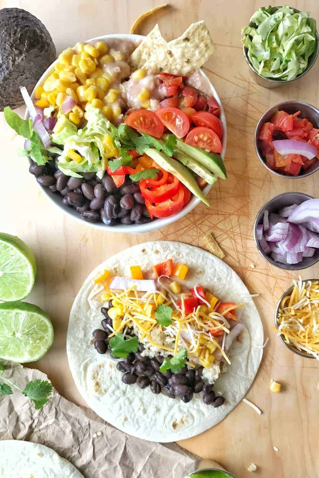 Fun Family Recipes: Southwestern Nacho Bean Bowls are a nacho meets veggie bowl combo. This healthy spin on nachos pleases everyone and saves calories and fat.