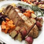 Sheet Pan Marinated Pork Fillet & Roasted Vegetables(ad): A quick delicious dinner meal. The pre- marinated pork loin is seared then roasted with root vegetables. A one pan meal ready in 40 minutes from start to finish. Leftovers make the perfect toppings for a lunch salad the next day.