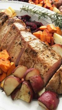 A plate of Pork loin and Root Vegetables