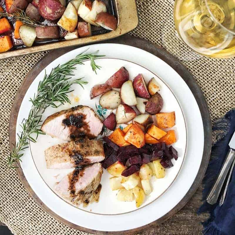 Sheet Pan Pork Loin is a quick dinner meal full of delicious vegetables. The pork is seared then roasted on a wire rack above the root vegetables, flavoring the veggies as it cooks. Pre-marinated pork fillet makes this a tasty and quick, 40 minutes from start to finish, dinner meal the whole family will enjoy.