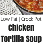 Chicken Tortilla Soup is a slow cooker dinner meal full of beans, quinoa, and vegetables. This soup comes together quickly with common items already in your pantry. A great use for leftover chicken.