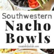 Fun Family Recipes: Southwestern Nacho Bean Bowls are a healthy nacho meets veggie bowl combo. This healthy spin on nachos saves calories and fat. These bean bowls are great for parties or weeknight dinners. High in protein and fiber. #ad