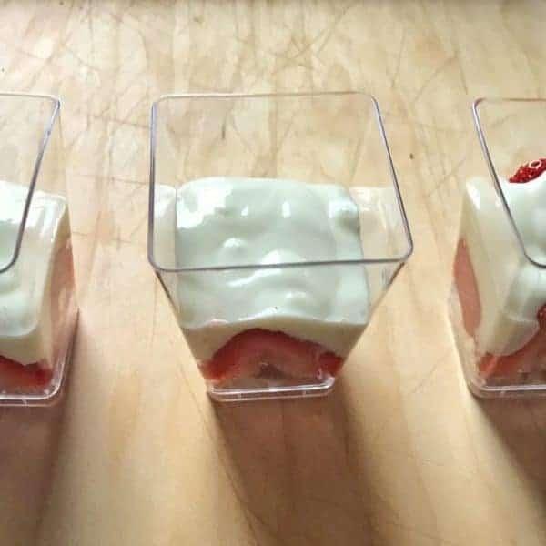 yogurt added to a cup
