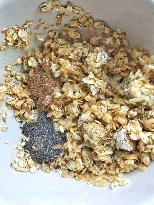 a bowl shown up close with oats, Rice Krispies, flax seeds and chia seeds