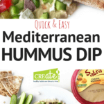 An Easy, Healthy Appetizer recipe that is perfect for any party. Quick & Easy Mediterranean Hummus Dip is a go to healthy appetizer that comes together in just 10 minutes. Using store-bought hummus, Greek yogurt, and lots of veggies, this simple snack is one you will make over and over. Yogurt adds even more creaminess to the hummus, while the veggies give this dip a fantastic flavor and crunch.
