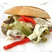 This healthy camping recipe is a foil packet recipe- a foil pack steak sandwich perfect for camping, cookouts, or can be made in the oven for a fun dinner idea.