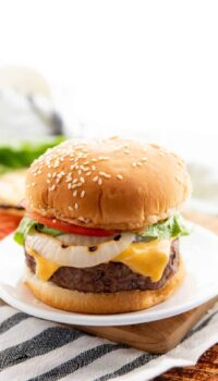cheese stuffed burgers on a bun with onion, cheese, tomato, and lettuce on a white plate