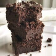 Double Chocolate Brownies are the best black bean brownie recipe you will ever try. These brownies are made in a blender quickly, pureeing the black beans so no one knows they are in there. Simple enough to get your kids cooking. Watch the how to video to see just how easy this homemade brownie recipe is.