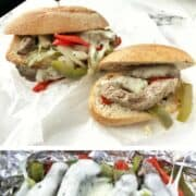 Philly cheesesteak sandwich on top with foil packet of steak, peppers, onions with melted cheese on top on the bottom half of the photo