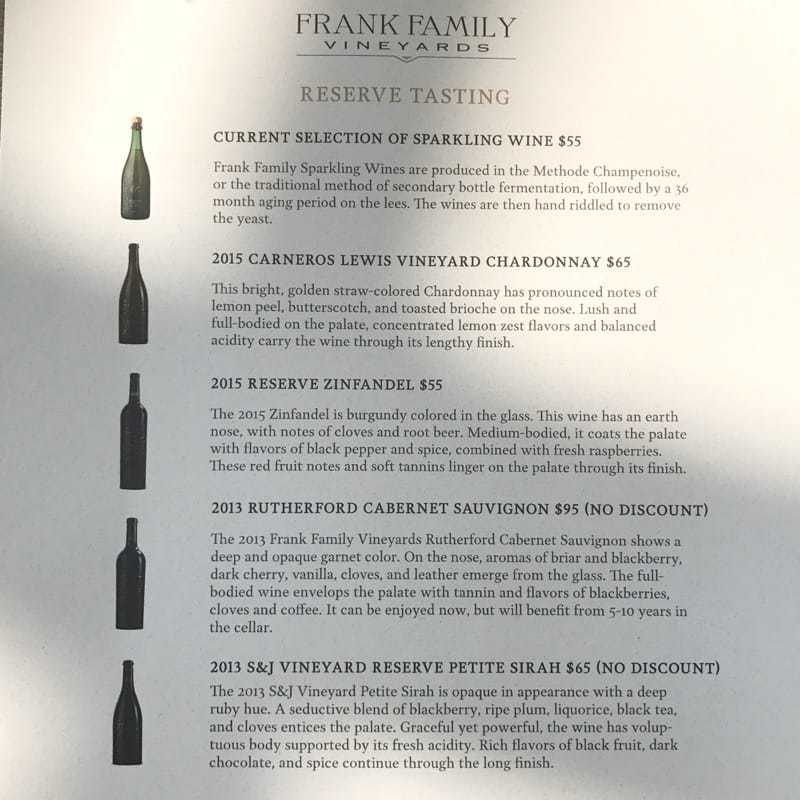 frank family vineyard menu
