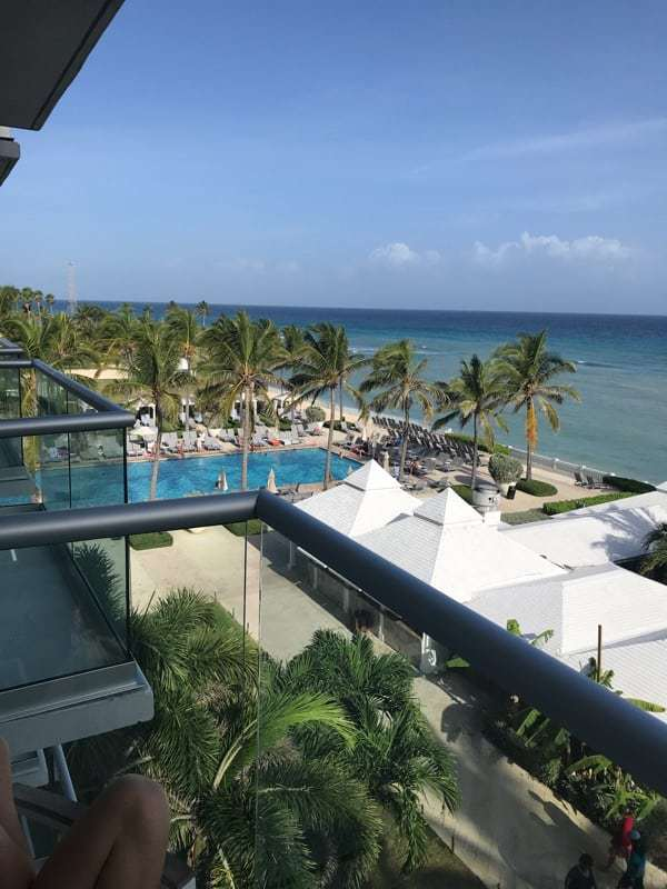 all inclusive resorts in montego bay jamaica showing the view from a balcony at Hilton Rose Hall Jamaica