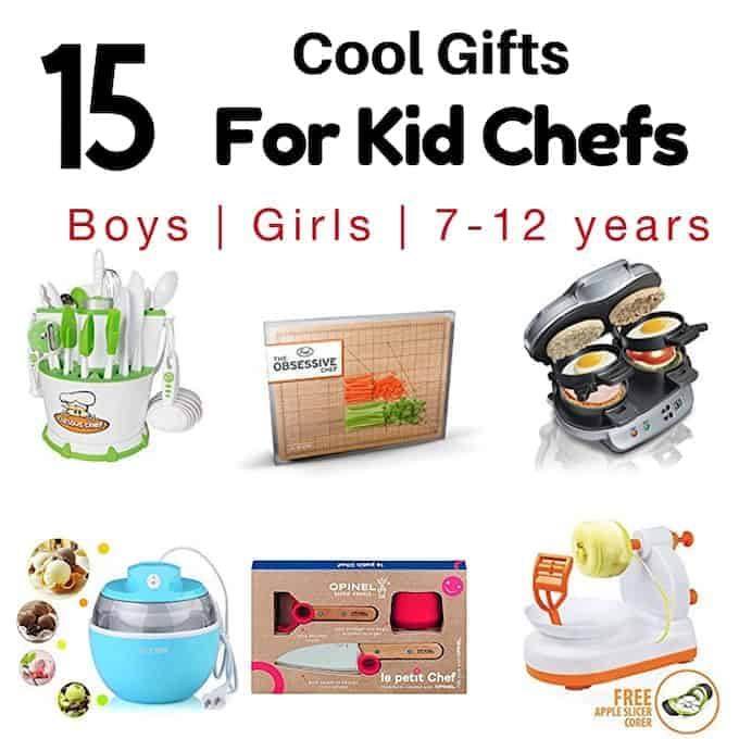Gifts for Kid Chefs & Kids cooking sets showing pictures of a cutting board, tool set, sandwich maker, ice cream maker, knife set, and apple peeler gadget.
