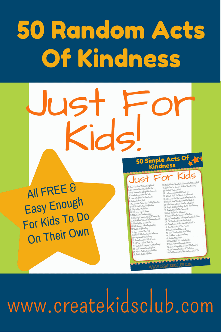 50 Random Acts of Kindness For Kids. Free Printable. All ideas are free to do and are simple enough for children to do on their own. Great for school, families, for community service, pay it forward ideas just for kids.