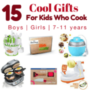 15 Best Gifts for Young Cooks has great gift ideas for the budding chefs in your life. This kids gift guide reviews fun holiday gifts for kids ages 7 thru 11 who enjoy cooking, baking, and spending time in the kitchen.
