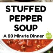 Stuffed pepper soup. This healthy stuffed pepper soup recipe takes is a 20 minute dinner recipe idea the whole family will love. It's low in fat, but not on flavor.