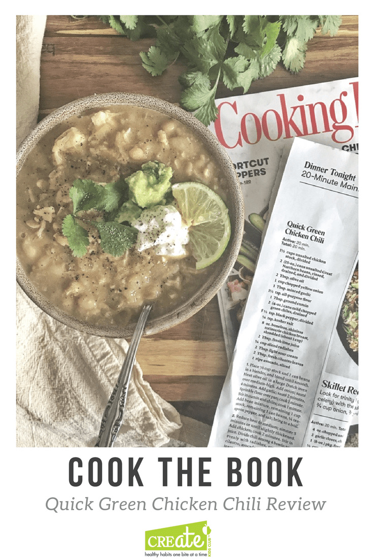 Healthy Easy Chicken chili recipe from cooking light magazine.  This new series Cook The Book tries magazine recipes and reviews how my family of four liked the recipe.  A white chicken chili recipe. #chickenchili #cookinglight #20minutedinnerrecipe #20minutemeal