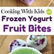 Frozen Yogurt with fruit are frozen yogurt bites kids can make on their own. A great after school snack idea or bedtime snack idea. This healthy snack recipe is customizable to foods on hand.