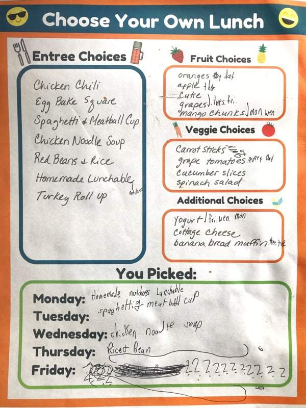 choose your own lunch worksheet filled out