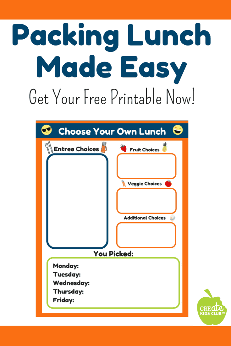 Meal prep for lunch #sponsored - Preparing lunches for the week just got easier.  This free printable form is a guide parents can use to help their children choose healthy school lunches.  Parents fill out the form based on foods on hand, children choose what goes into their lunchbox choosing from each category.  Meal prep for the week done in a stress-free, easy to complete form. #produceforkids