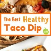 Taco Dip Recipe: This healthy layered taco dip is easy to make. Using refried beans, greek yogurt, spices, salsa, and loads of veggies, its the perfect appetizer for game day or parties. Enjoy with tortilla chips, pretzel chips or even veggie sticks.