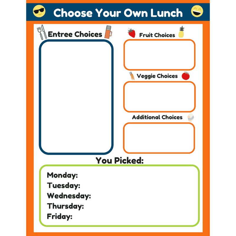 choose your own lunch worksheet