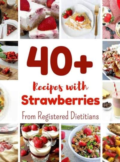 Many different types of food on a table, with Strawberry