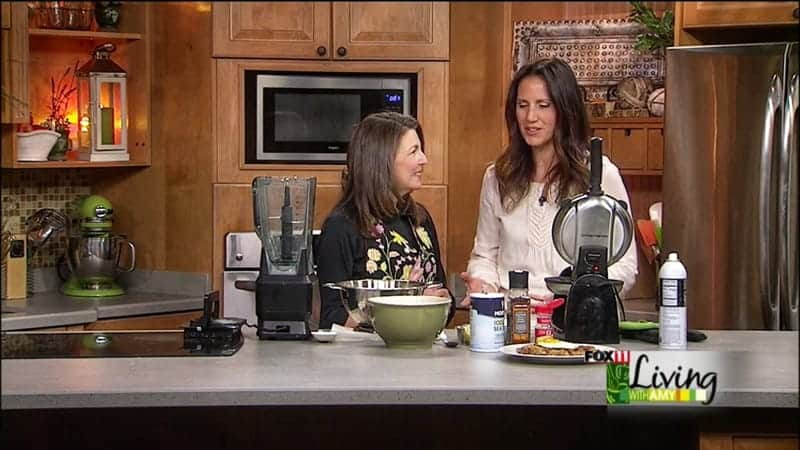 registered dietitian jodi Danen showcasing her stacked smoothie recipe live on air