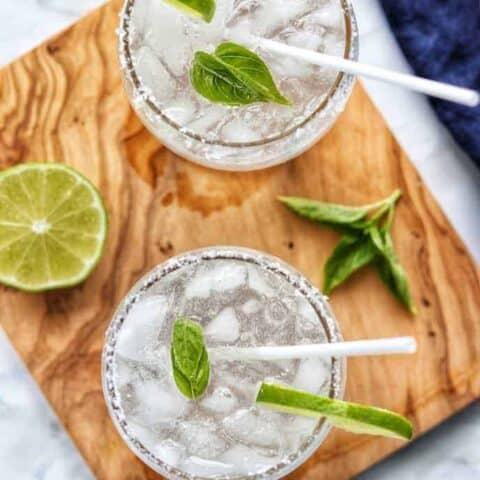 lemon lime sodas in glasses