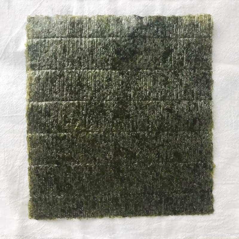 a sheet of nori shown up close.