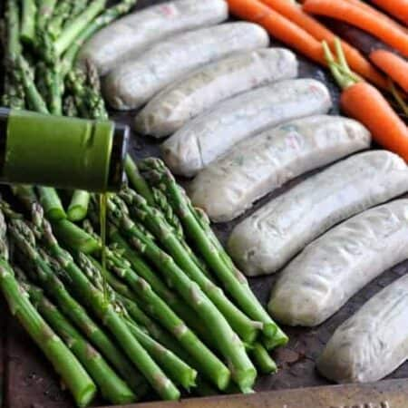 Sausage sheet pan dinner with asparagus and carrots