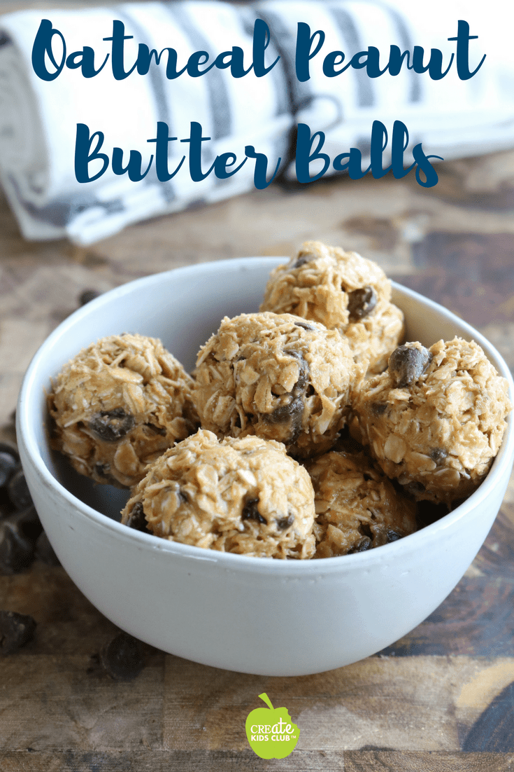Easy, healthy oatmeal peanut butter balls are a no-bake afterschool snack made with 5 ingredients. This energy bites recipe is easy enough for kids to make. They are made with honey, rolled oats, smooth peanut butter, and chocolate chips.  They are perfect for kids and families.   #energybites #peanutbutterballs #snacks #healthysnacks