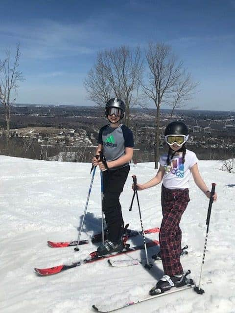 kids skiing without jackets