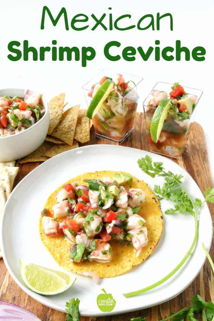 An easy Mexican shrimp ceviche recipe.  #ad With avocado, cilantro, tomatoes, red onion it's served on tostadas, plain, or with tortilla chips or crackers. #ceviche #shrimp #howtomakeceviche #tomatowellness #shrimpceviche