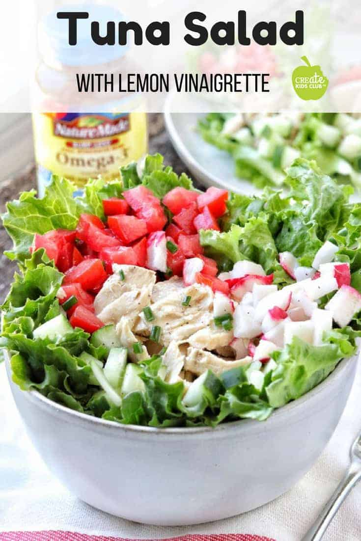 #ad An easy & healthy tuna salad recipe with no mayo.  Grab the citrus vinaigrette recipe that is made with olive oil, apple cider vinegar, and lemon juice.  This homemade salad dressing is health & perfect for any summer salad.  Learn the benefits of Omega-3's in your diet.  Text OMEGA3 to 555888 & watch a quick video from Nature Made to learn more about your Heart Health & Omega-3s at Walmart. #NatureMadeHeartHealth @NatureMadeVitamins @Walmart #tunasalad #vinaigrette