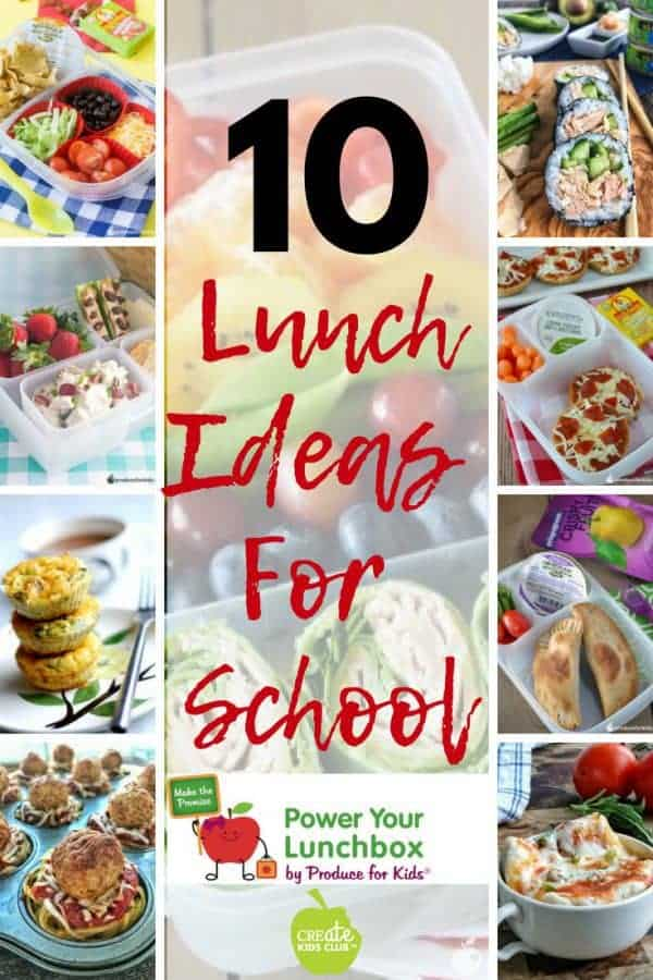 10 Lunchbox ideas for kids. #sponsored These simple lunch recipes make packing school lunch a little easier.  Check them out today! #poweryourlunchbox #schoollunch #lunchboxideas #produceforkids
